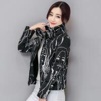 反季印花小棉袄轻薄棉衣女短款修身韩版羽绒新款加厚大码 黑色 M70斤-90斤
