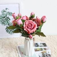 仿玫瑰花假花套装家居客厅室内干花花束装饰花摆件摆设 +白色花瓶
