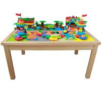 多功能实木动物园多功能女孩男孩长方形幼儿园玩具儿童积木桌子