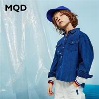MQD童装男童长袖衬衫2020春秋新款上衣中大童韩版格纹格子衬衣潮