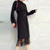 针织连衣裙女秋冬季韩版2018新款毛衣中长款套装裙子加外搭两件套