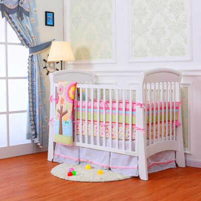 婴儿床 实木美式欧式环保bb床双胞胎床多功能游戏床拼接大床zf08