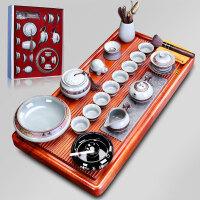 唐丰花梨实木茶盘套装仿宋哥窑功夫茶具家用办公中式整套排水茶台
