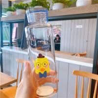 抖音网红水杯玻璃杯女可爱学生便携小黄鸭文艺透明少女心杯子