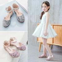 2019夏季新款韩版女童凉鞋儿童包头鞋中大童表演小高跟公主鞋
