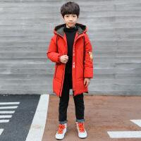 男童棉衣新款中长款加厚中大童儿童棉袄冬装外套韩版潮衣 红色 120cm