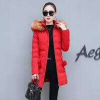 加肥特大码女装冬季外套冬装加厚棉衣新款胖mm中长款棉袄 红色 M(建议85-100斤)