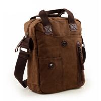 斜挎包 14寸笔记本电脑包 休闲单肩包纯棉帆布包 竖款韩版男包 男士包包 男