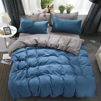 网红单人床单大学生女宿舍纯棉床上用品三件套被单2被套1.2米定制 孔雀蓝 宝蓝灰