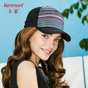 卡蒙条纹棒球帽透气网黑帽子女小香风鸭舌帽防晒帽户外时尚太阳帽3647