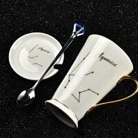 创意十二星座杯子带盖勺陶瓷马克杯欧式情侣咖啡杯办公室家用水杯 白-金把水瓶(1.20~2.18) 白色杯子