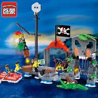儿童益智拼装海盗船系列男孩组装模型拼插玩具