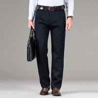 冬季加绒男裤子中年休闲裤中老年加厚款宽松西裤爸爸外穿保暖黑色