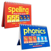 Flipover Phonics Book:Word Families Three-Letter Words Short Vowels 2本套装 幼儿启蒙认知英文原版图画词卡 Read spell l