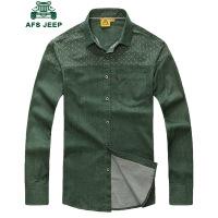 战地吉普AFS JEEP男士长袖衬衫 韩版时尚休闲波点拼接衬衣男装春秋衬衫