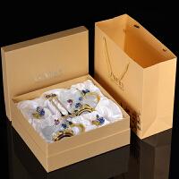 珐琅彩水杯耐热玻璃杯女花茶杯玫瑰花茶杯家用杯子套装大创意礼物 蓝玫瑰高矮组合+珐琅勺+杯盖 黄盒套装送布+垫