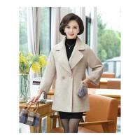妈妈秋装气质外套40-50岁新款中老年人女装大衣冬季洋气毛呢上衣