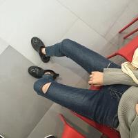 春季韩国修身显瘦破洞小脚牛仔裤女百搭高腰弹力铅笔裤学生九分裤