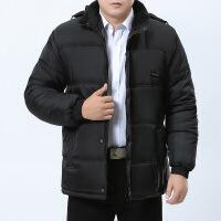 秋冬款中年男士棉衣爸爸冬装外套加绒加厚中老年冬天棉袄 黄绒 XL