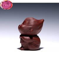 宜兴紫砂壶茶宠摆件 手工茶玩配件 大红袍飞天猴 单个价 图片色