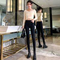 加绒加厚打底裤修身女外穿秋冬舒适高腰显瘦黑色紧身小脚魔术裤子