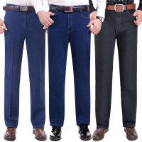 秋冬季中年男士牛仔裤加绒加厚中老年男长裤爸爸装高腰直筒宽松