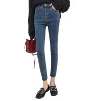 朵拉潮人馆复古港味春装新款韩版高腰紧身铅笔牛仔裤女小脚裤 蓝色