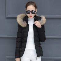 棉衣女短款新款冬季大码百搭韩版修身棉袄加厚羽绒外套潮 黑色 M