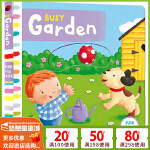 Busy Garden 系列纸板书 英文原版绘本0 3 6岁 繁忙忙碌的花园 纸板机关操作活动书 边玩边学 幼儿认知启