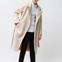冬季风衣男士中长款过膝青年韩版宽松帅气学生加厚毛呢子大衣外套