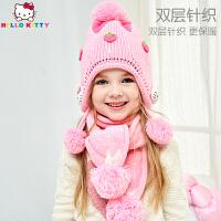 【到手价:67元】HelloKitty凯蒂猫儿童秋冬款帽子围巾两件套女童小童加绒针织帽针织围脖KT01B13014