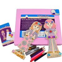 一点 儿童益智木制DIY组装涂色小人 3岁以上宝宝 早教玩具