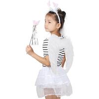 万圣节儿童表演用品道具cosplay白色羽毛翅膀舞会服装天使翅膀