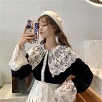 秋冬女装韩版气质接拼袖蕾丝娃娃领衬衫长袖休闲显瘦衬衣上衣 均码