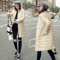 棉袄女新款女装轻薄羽绒中长款韩版棉衣反季冬天外套 米白色 M