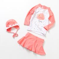 儿童女孩分体长袖游泳衣 女童宝宝分体裙式泳衣