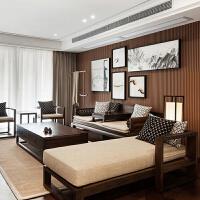 【好店】新中式沙发组合实木中国风现代简约布艺别墅禅意雕花客厅家具定制 2椅++三+炕+茶+3角+ 其他
