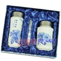 青花瓷陶瓷3件套 茶杯+茶叶罐+笔 富贵花开 会议商务礼品定制logo