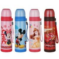 包邮!迪士尼 Disney 保温杯500ML不锈钢真空学生水壶 拎带设计 内盖可拆洗 米妮米奇公主
