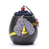 唐丰陶瓷禅意茶叶罐浮雕保鲜罐家用防潮密封罐绿茶铁观音醒茶罐