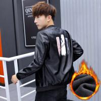 皮衣男士冬季外套加绒韩版修身青少年帅气学生皮夹克2018新款潮流