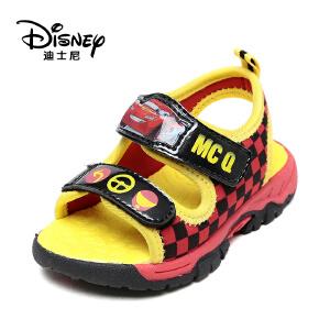【达芙妮超品日 2件3折】disney/迪士尼男童格子纹魔术贴露趾透气儿童凉鞋