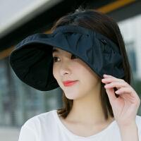 帽子女夏季度假出游遮阳帽防紫外线可折叠遮脸太阳帽空顶防晒帽