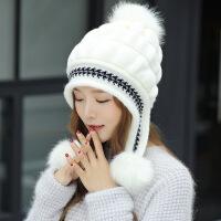 20190303081837459帽子女士冬天韩版潮百搭针织毛线帽冬季保暖加厚护耳帽时尚兔毛帽 均码有弹性