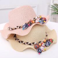 夏季宝宝渔夫帽太阳帽薄儿童遮阳帽女童公主沙滩帽子草帽