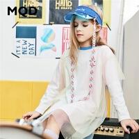 MQD童装女童连衣裙2020春装新款儿童圆领假两件印花网纱裙T恤裙