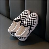 黑白棋�P格子�和�帆布鞋男童鞋女童板鞋中大童�H子鞋夏季