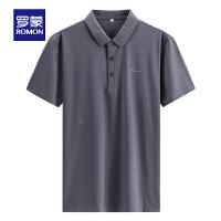 罗蒙男士Polo衫2021中青年夏季新款时尚休闲纯色胸标短袖T恤衫男