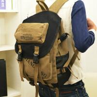 旅行包韩版帆布包英伦风休闲双肩包14寸电脑包学院风书包