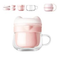 【好货】旅行快客杯玻璃便携茶具套装女可爱功夫茶杯一壶二杯三杯陶瓷